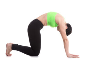 Young woman doing a cat yoga stretch for arthritis
