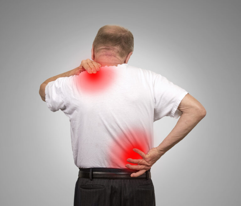 Man with joint pain in shoulder and hip
